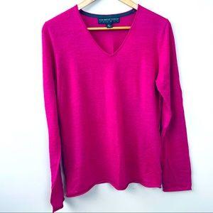 Gorgeous Fuchsia WOOL thin knit sweater!